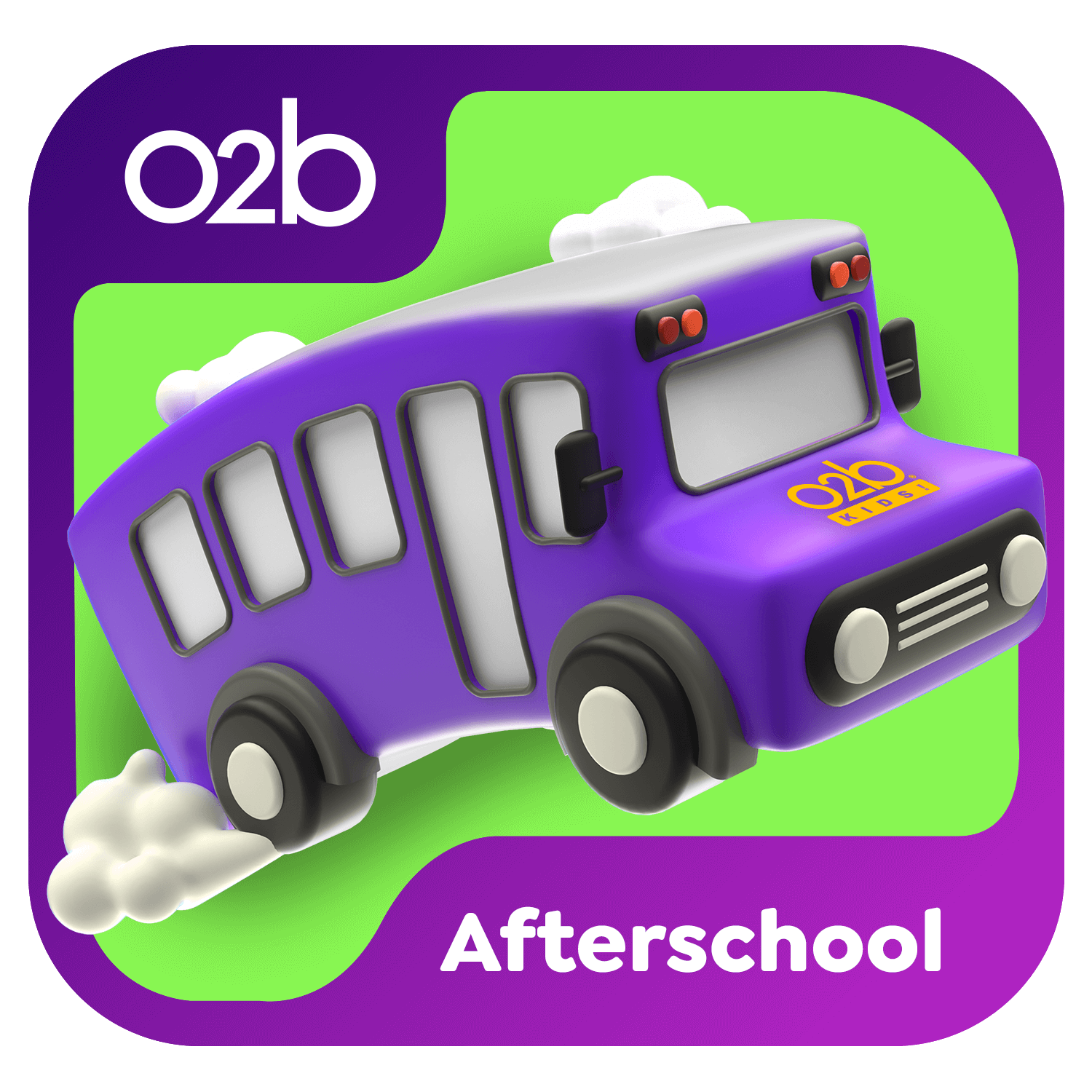 Purple bus with O2B Kids logo 3D illustration. Afterschool icon.
