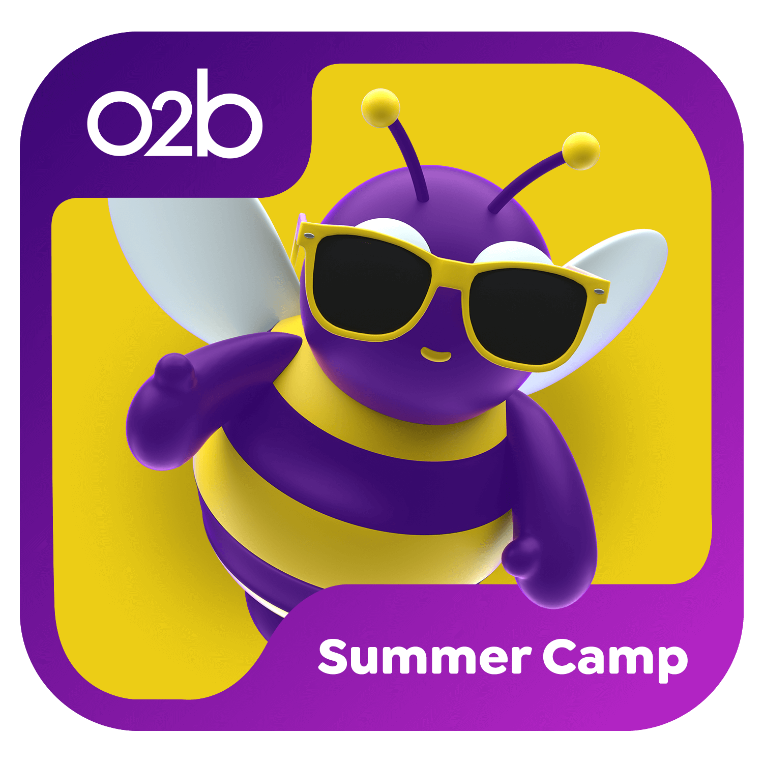 3D Icon with Purple and yellow bee wearing yellow sunglasses. Summer Camp icon
