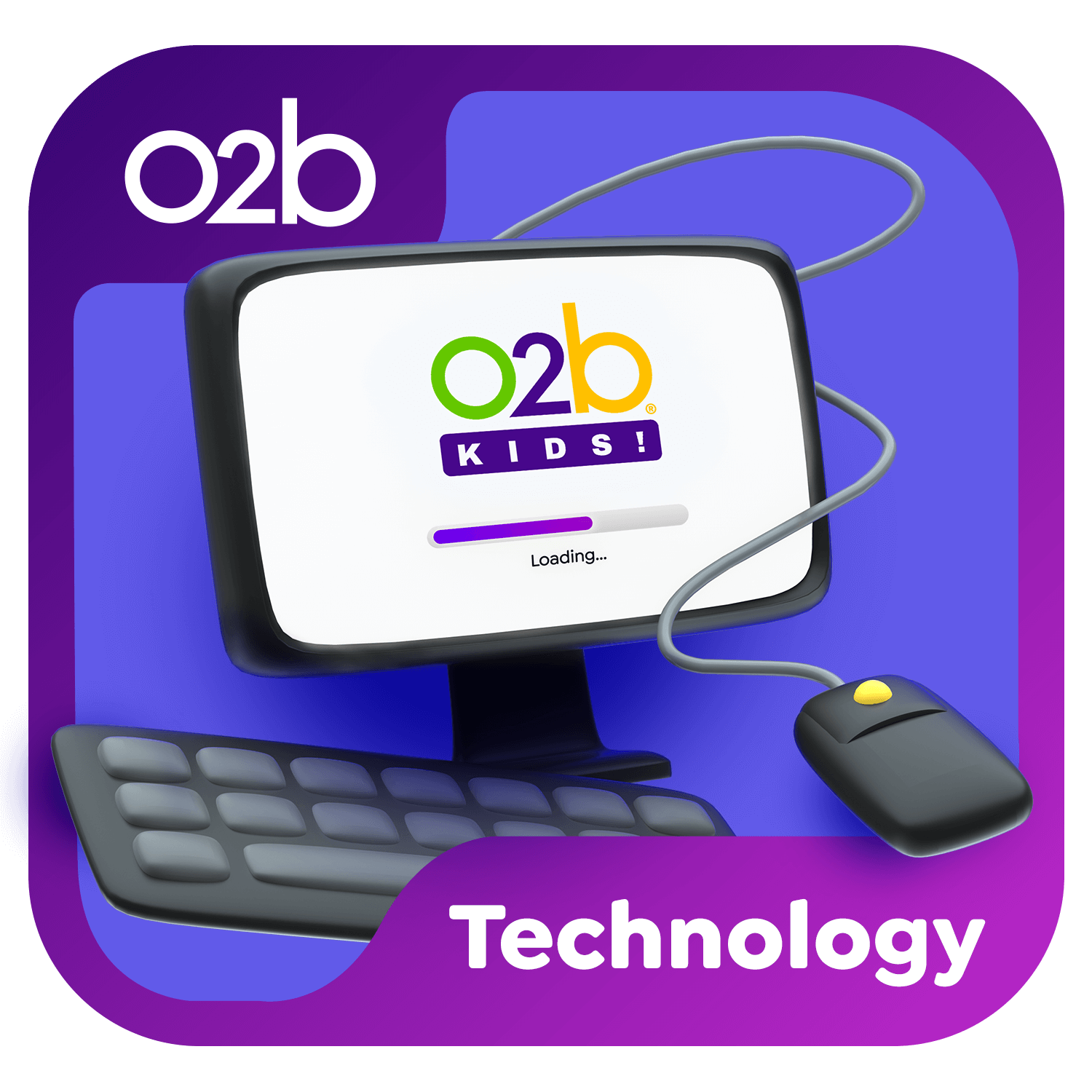 3D illustrated computer icon with a mouse wrapped around it. Also includes a keyboard. Computer monitor has a loading screen on it with the O2B Kids logo. Technology icon.