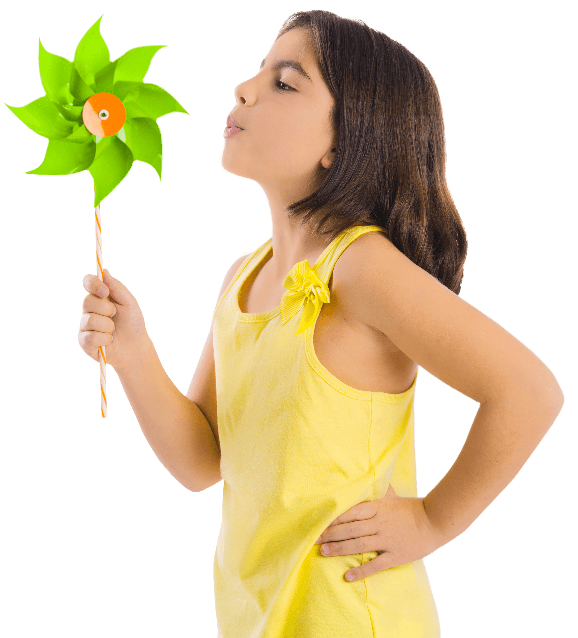 Girl with yellow shirt with pinwheel